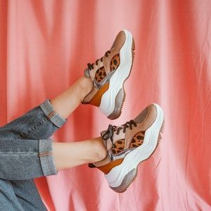 Zara Animal Print Sneakers with Contrasting Pieces